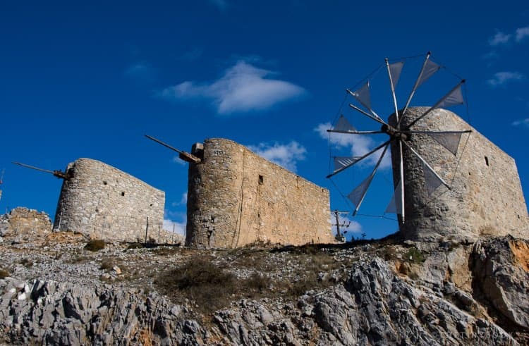 Old windmills made of Stone, Crete.