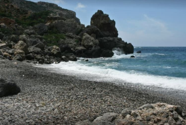 pebbled beach, waves, sea, promontory, Platanakia beach, West Crete