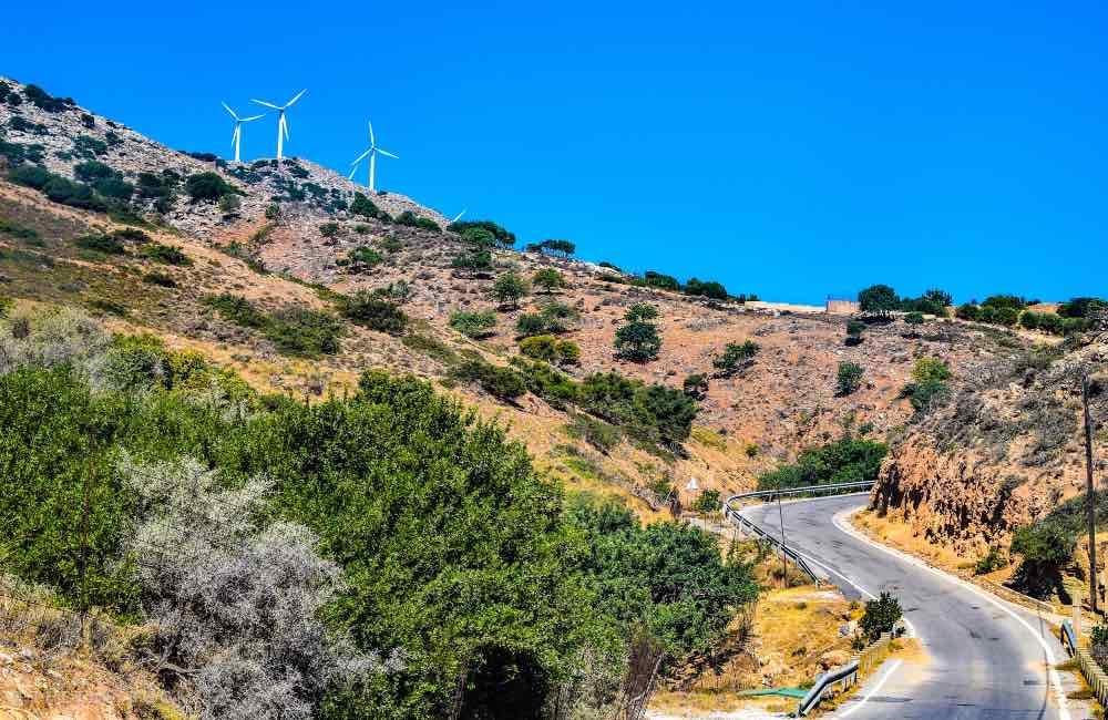 wind turbines, mountain road, crete