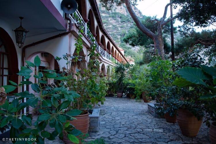 Gardens and cells, Selinari Monastery, Crete.