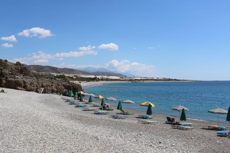 Krios beach, nudist beach in Paleochora, sea and pebbles