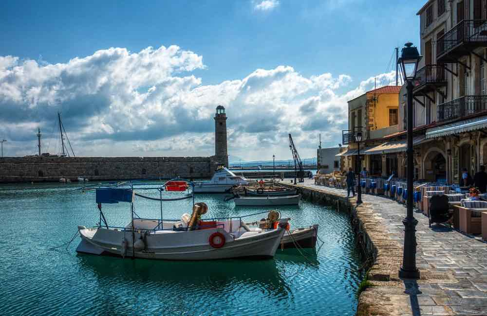 Old port, boat, lighthouse, Crete
