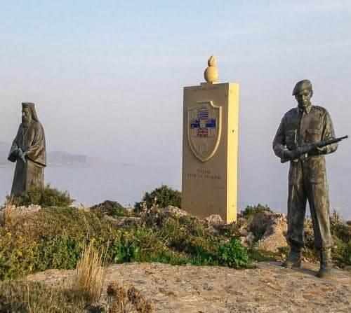 Preveli monastery memorial: A monk and a soldier by the sea (Crete)
