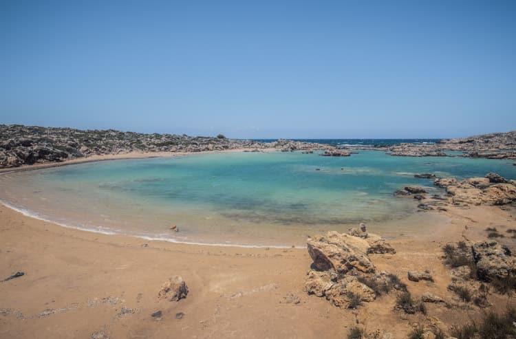sand beach and blue sea, Aspri Limni, Crete
