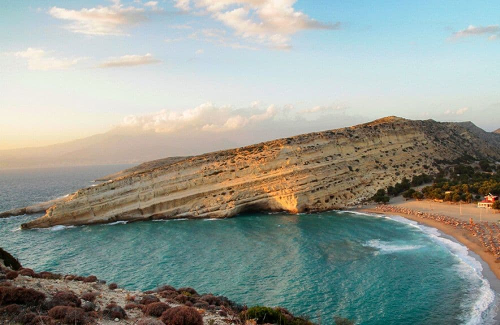 beach, sea, caves, Matala, Crete