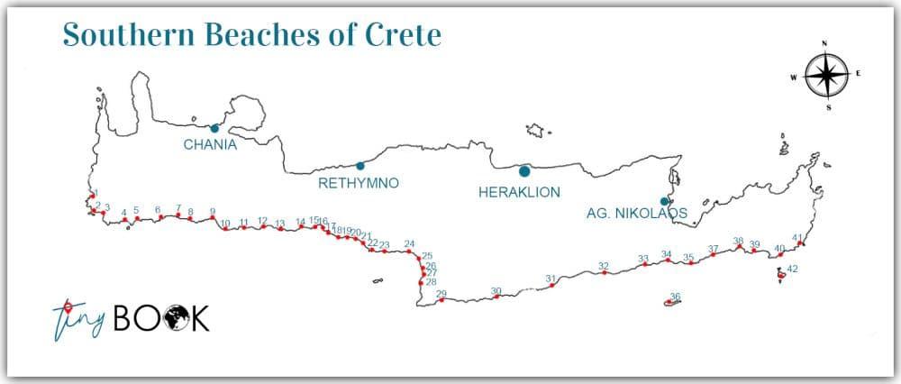 Map Crete south beaches