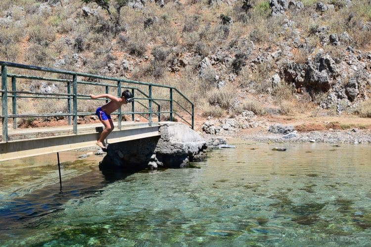 kids jumping from beach, Georgioupoli, Crete