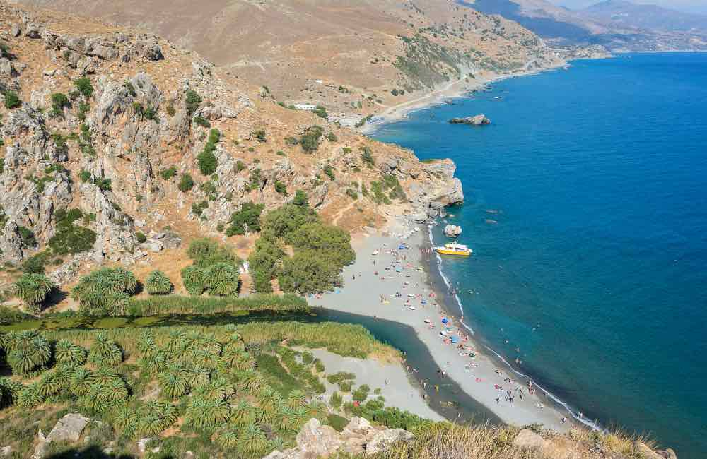 River flowing into the sea, Preveli beach, Crete