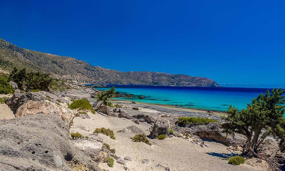 Blue sea, sand dunes, Crete