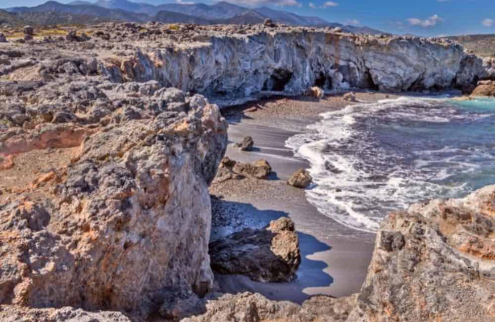 cliffs, rocks, sand, seaside - Pigada beach, Milatos, Crete
