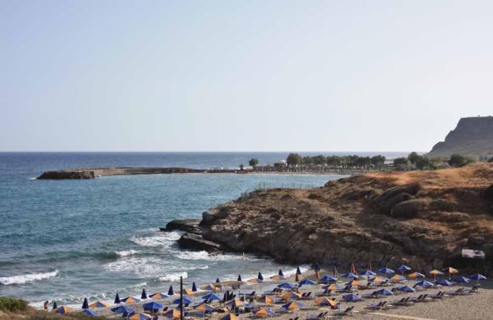 sea, promontory, beach, sand, umbrellas - Boufos beach, Sisi, Crete.