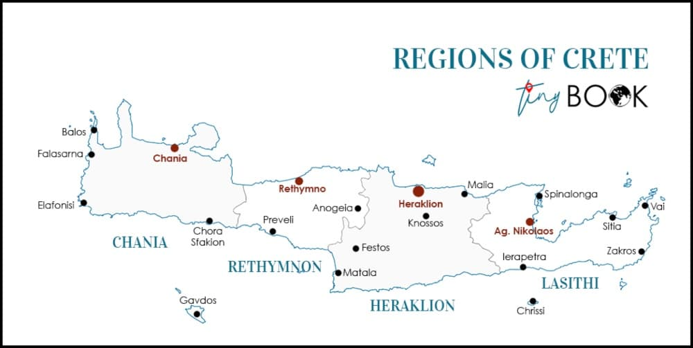 Greece - Crete - Map - Regions