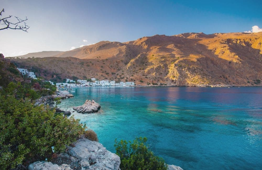 Loutro village, Loutro beach, Crete, South Crete, Sea, Mountains