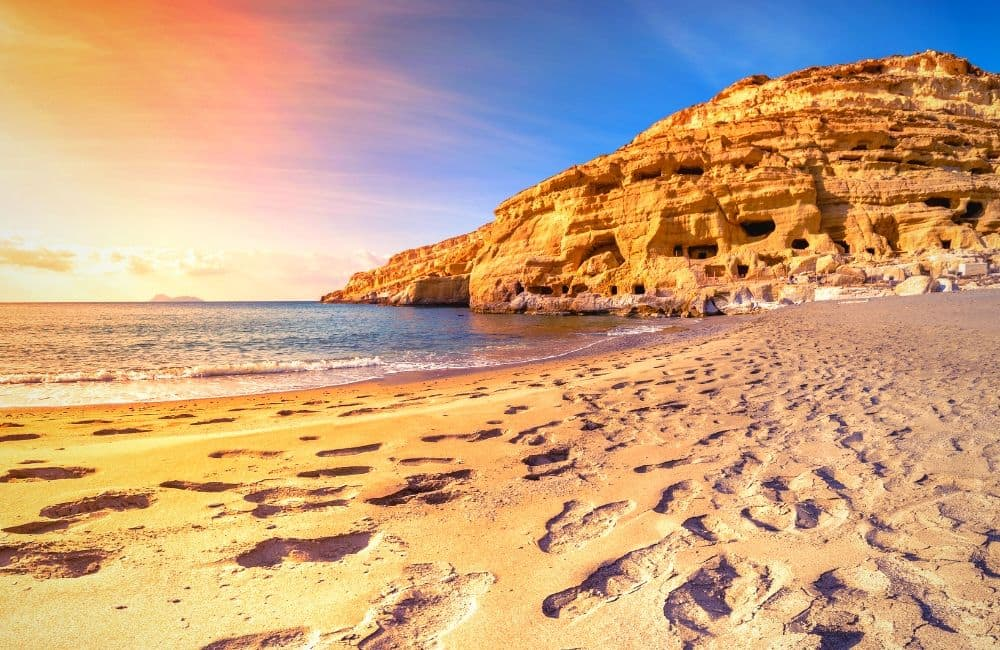 Matala beach, Crete, Caves, Sunset