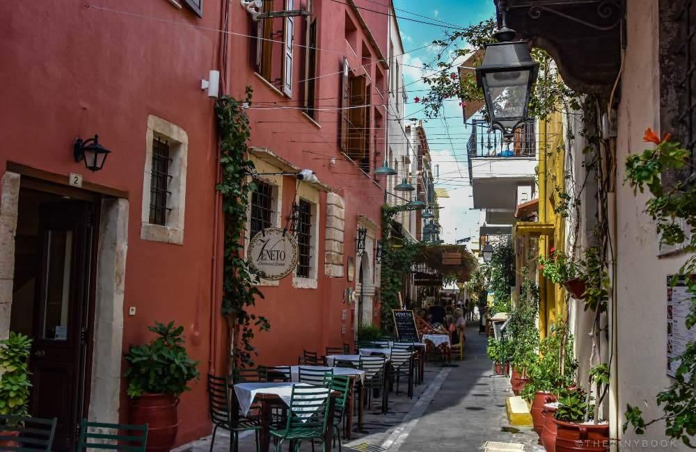 street, tables, restaurants, old town Rethymnon, Crete