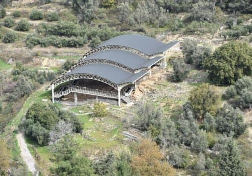 roof, valley, Eleftherna, Crete, archaeological site,