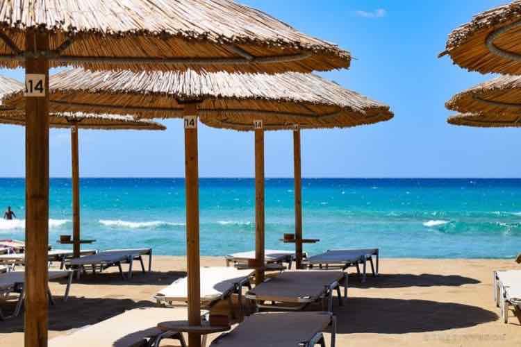 Umbrella, sea, beach, sunbeds