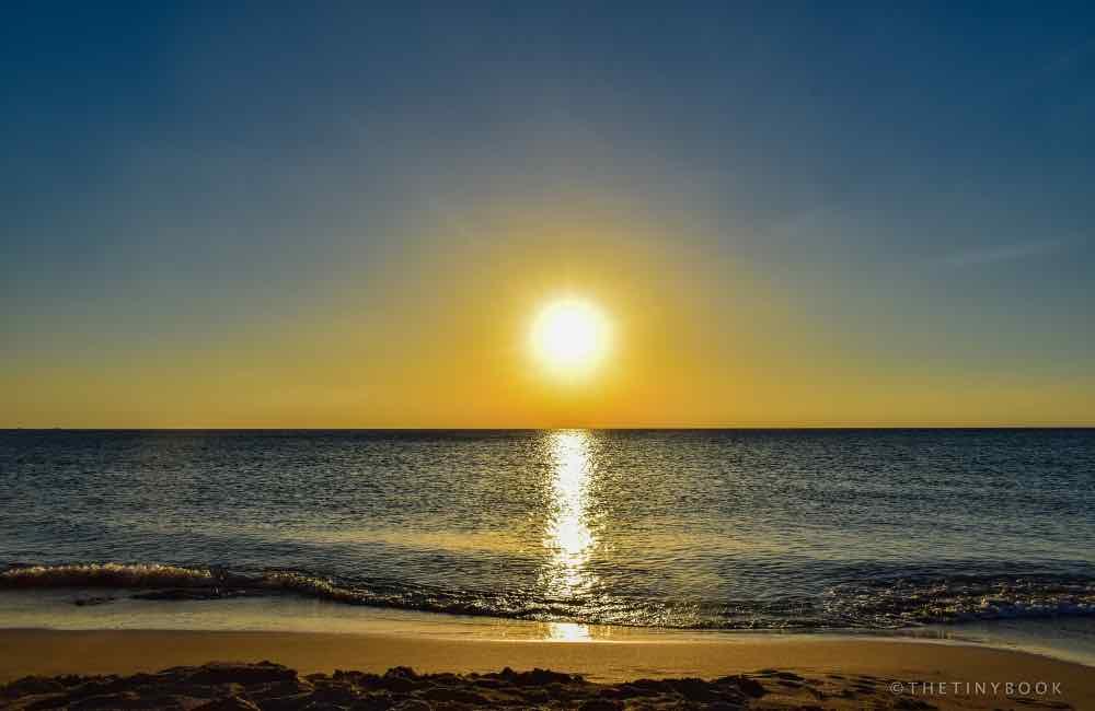 Sun setting, sea, Crete