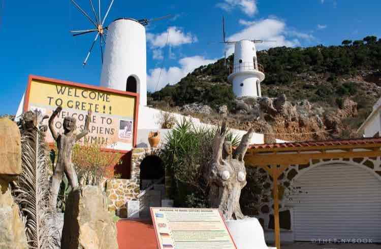 windmills, sculptures, entrance to a museum, Crete
