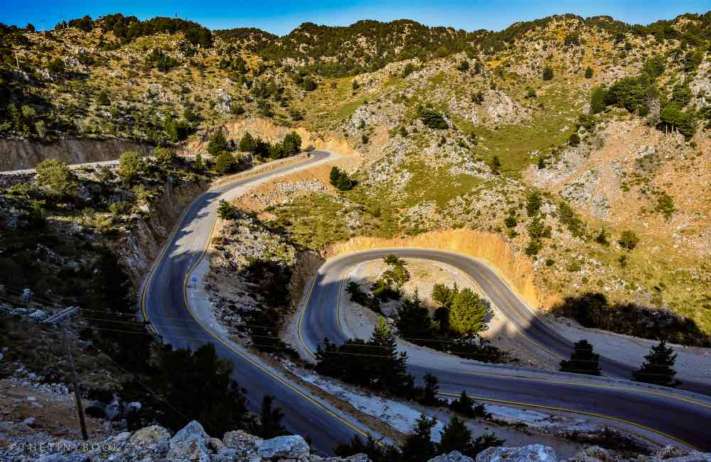 Bending road, mountains, Crete, Omalos, White Mountains