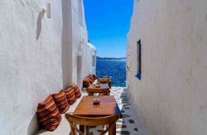 GREECE - MYKONOS - ALLEY - SEA