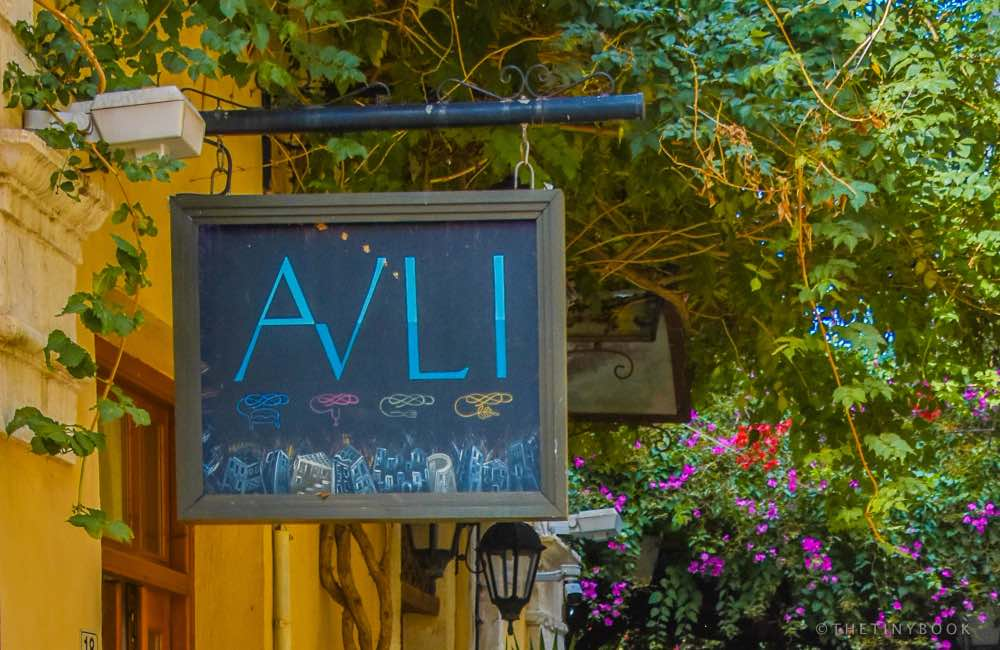 signpost, hotel Rethymnon, Crete