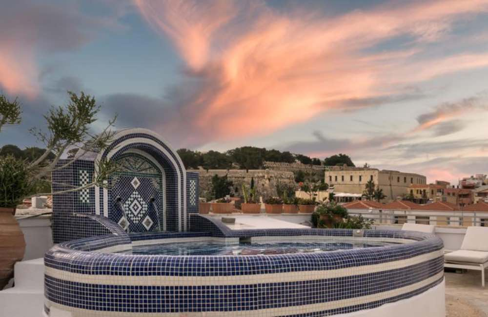 rooftop pool, hotel, Rethymnon, Crete