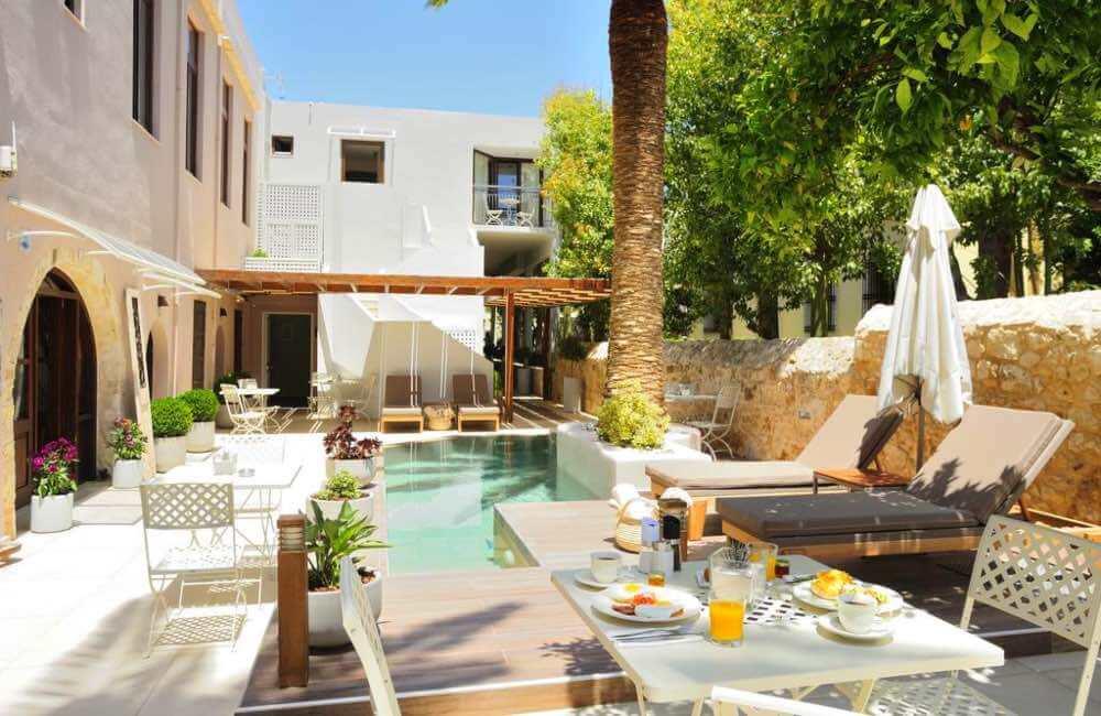 patio, breakfast, hotel, Crete