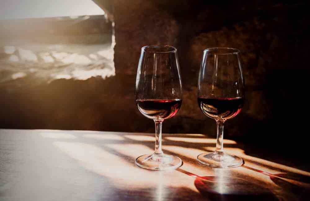 Cretan wines - red wine - stone wall and arch