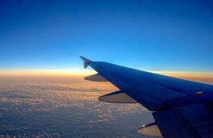AIRPLANE. SKY - SUNSET