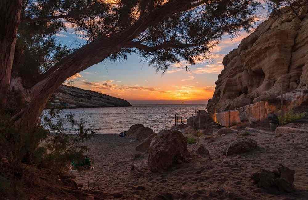Matala Beach in Heraklion, Crete.