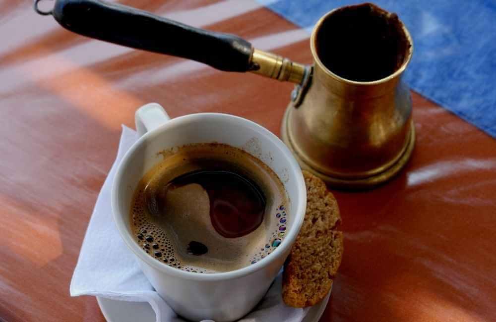 Cup and briki Greek coffee
