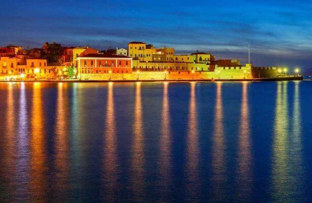 Crete - Greece - Chania harbor at night